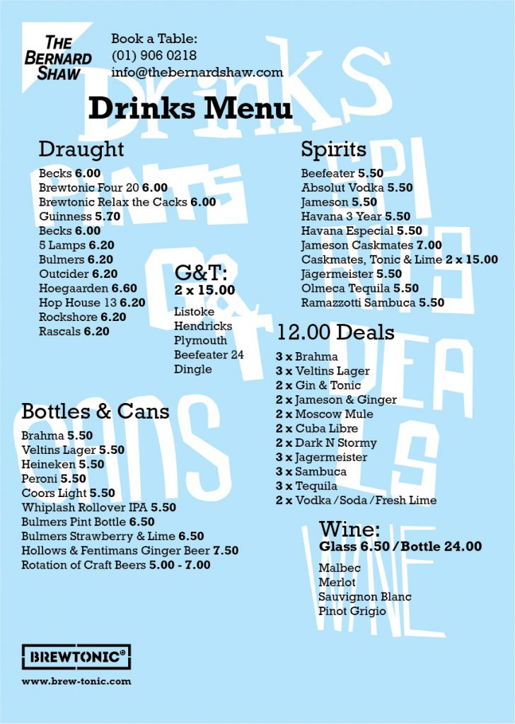 Bernard Shaw Drinks Menu A3-01