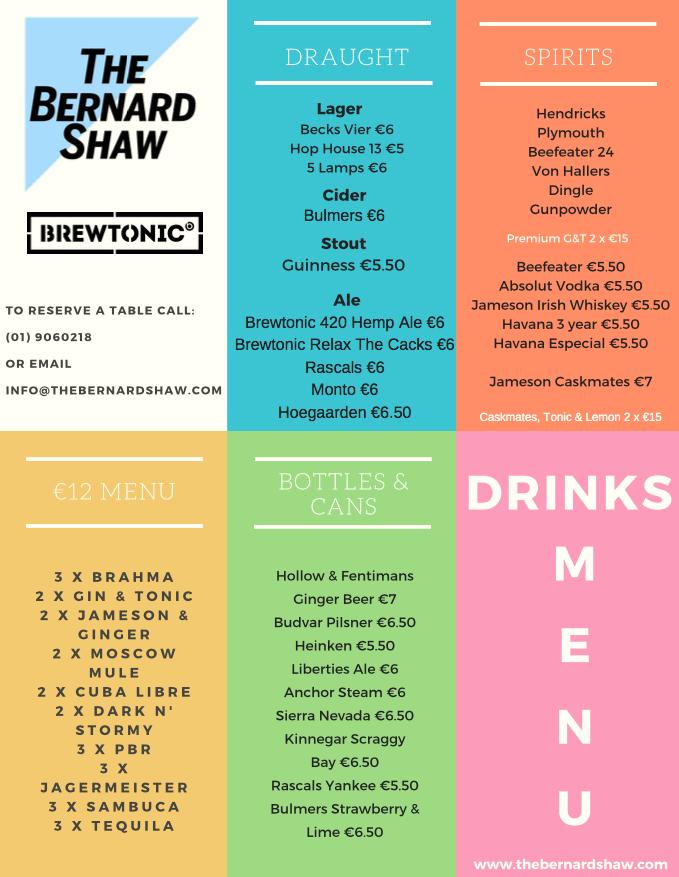 Drinks Menu - Bernard Shaw
